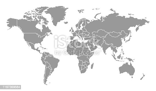 istock Detailed World Map with Countries 1197369584