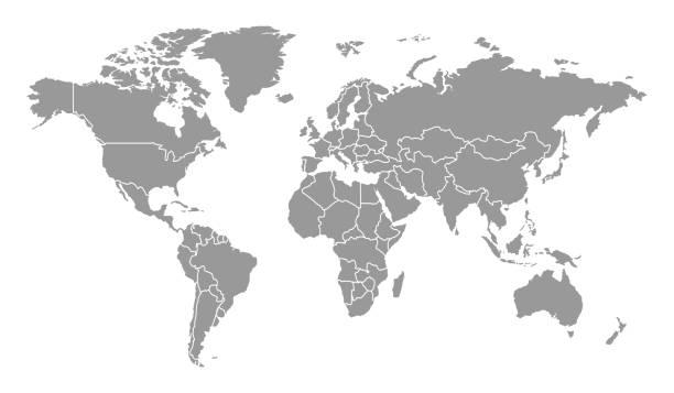 szczegółowa mapa świata z krajami - globalny stock illustrations