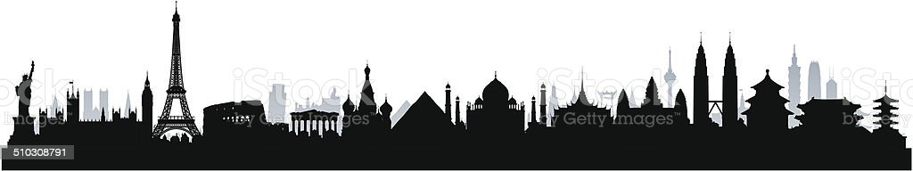 Detailed World Monuments Skyline (Complete, Moveable Buildings) vector art illustration
