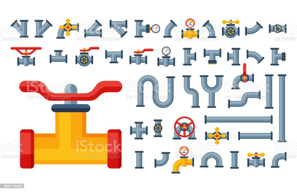 Details pipes different types collection of water tube industry gas valve construction and oil industrial pressure technology plumbing vector illustration vector art illustration