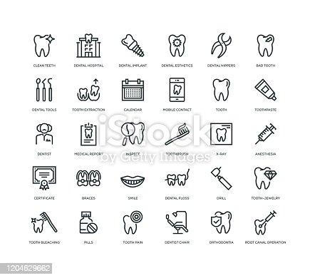 30 Dental Icons - Line Series
