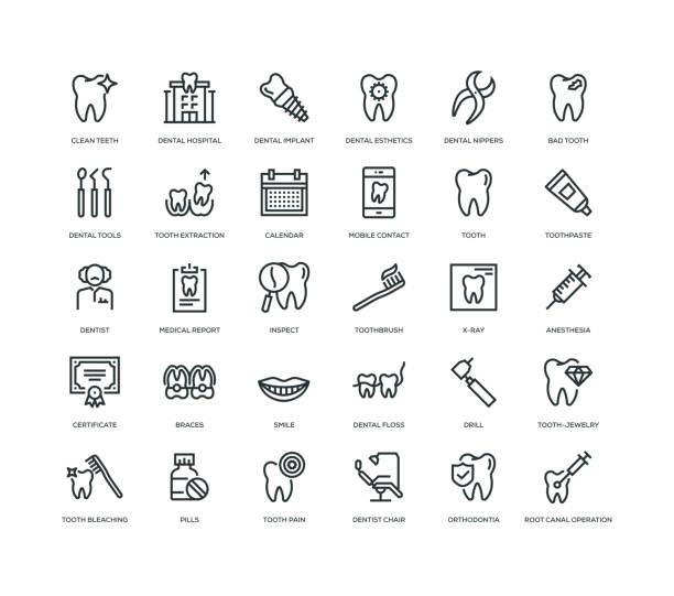 Detal Icon Set 30 Dental Icons - Line Series dental health stock illustrations