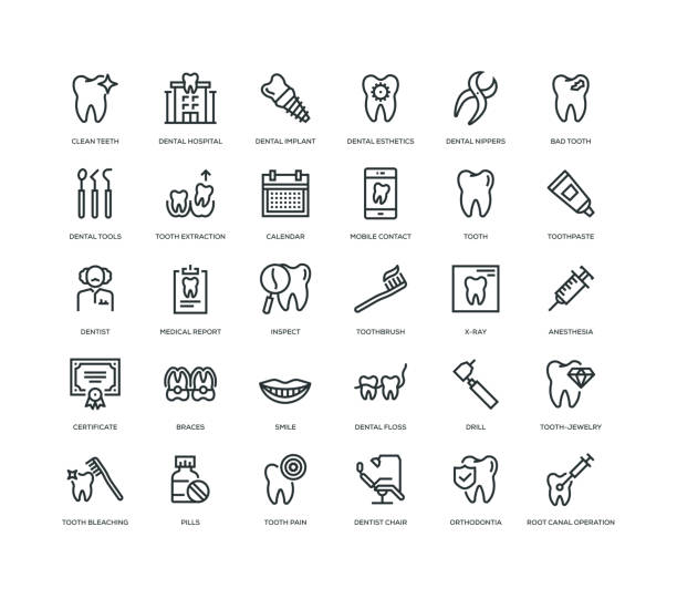 detal icon set - toothy smile stock illustrations