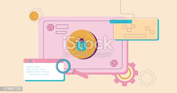 Detection bug illustration. Software warning about harmful virus unwanted of errors in programming debugging and elimination of flat dangerous trojan vector worm.