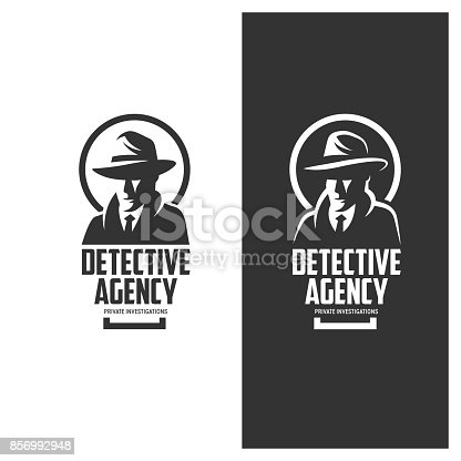 istock Detective agency emblem with abstract man head in hat. Vintage vector illustration. 856992948
