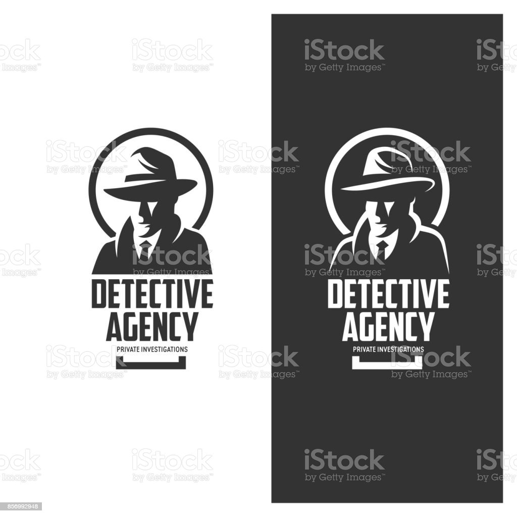 Detective agency emblem with abstract man head in hat. Vintage vector illustration. vector art illustration