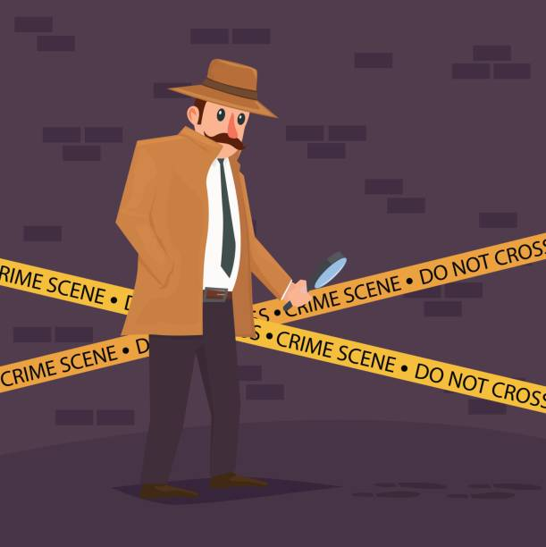 Detective at crime scene Detective at crime scene crime scene stock illustrations