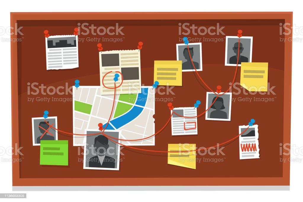 Detective Board. Historial de pruebas de delitos, fotos de periódicos y policías. La investigación evidencia la ilustración vectorial ilustración de detective board historial de pruebas de delitos fotos de periódicos y policías la investigación evidencia la ilustración vectorial y más vectores libres de derechos de acontecimientos en las noticias libre de derechos