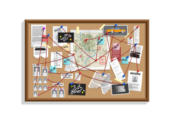Detective Board with pins and evidence, crime investigation Detective Board with pins and evidence, crime investigation. Investigation board with pinned photos, newspapers and notes. Cops plan for solve the crime. Detective map vector illustration. detective stock illustrations