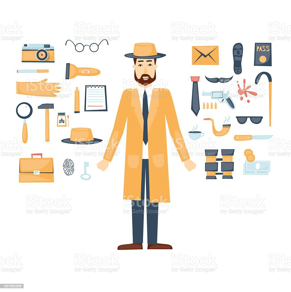 detective character and icon set elements flat design vector stock