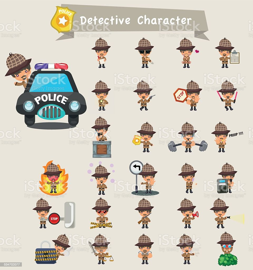 detective character set vector art illustration