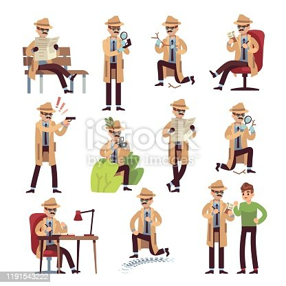 Detective characters. cartoon police secret agent and private search, surveillance hiding work isolated vector evidence forensic set