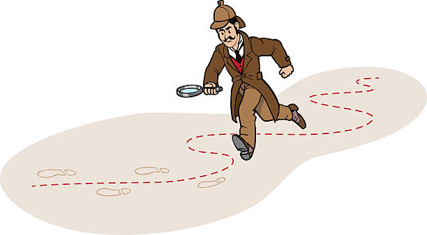 Detective Chasing a Clue Vector Illustration of a running Detective, Chasing a Clue deerstalker hat stock illustrations