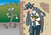 Vector Illustration Cartoon with a comic Detective Chasing a Suspected that is a Screw