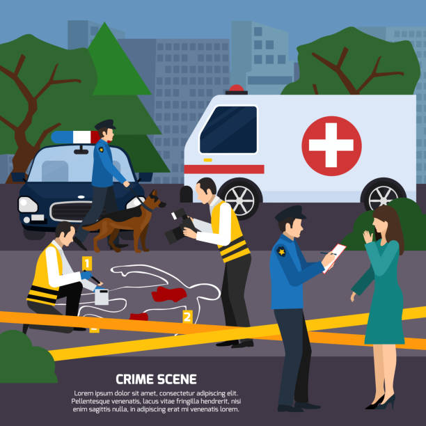 detective criminalist flat composition Crime scene with body contour blood traces police experts ambulance car interviewing witness flat style vector illustration police interview stock illustrations