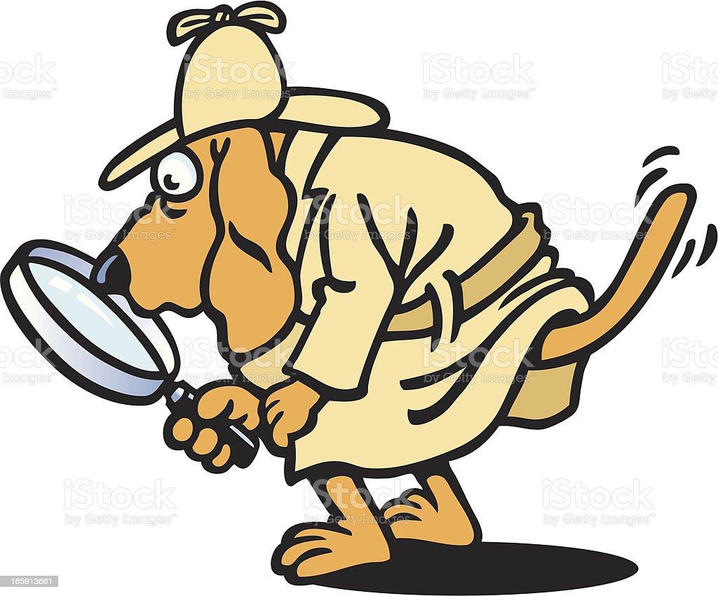 Detective Dog vector art illustration