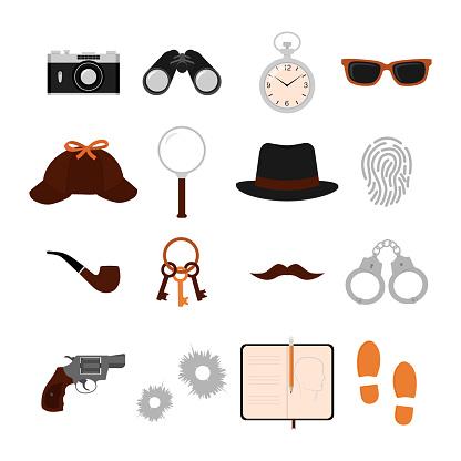 Detective Flat Icons Set.