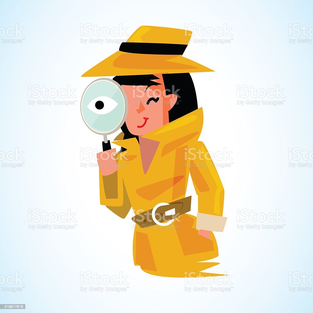 detective girl holding magnifying glass to watchin. vector art illustration