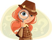Illustration of a young girl with magnifying glass. Girl and background are grouped layered separately.