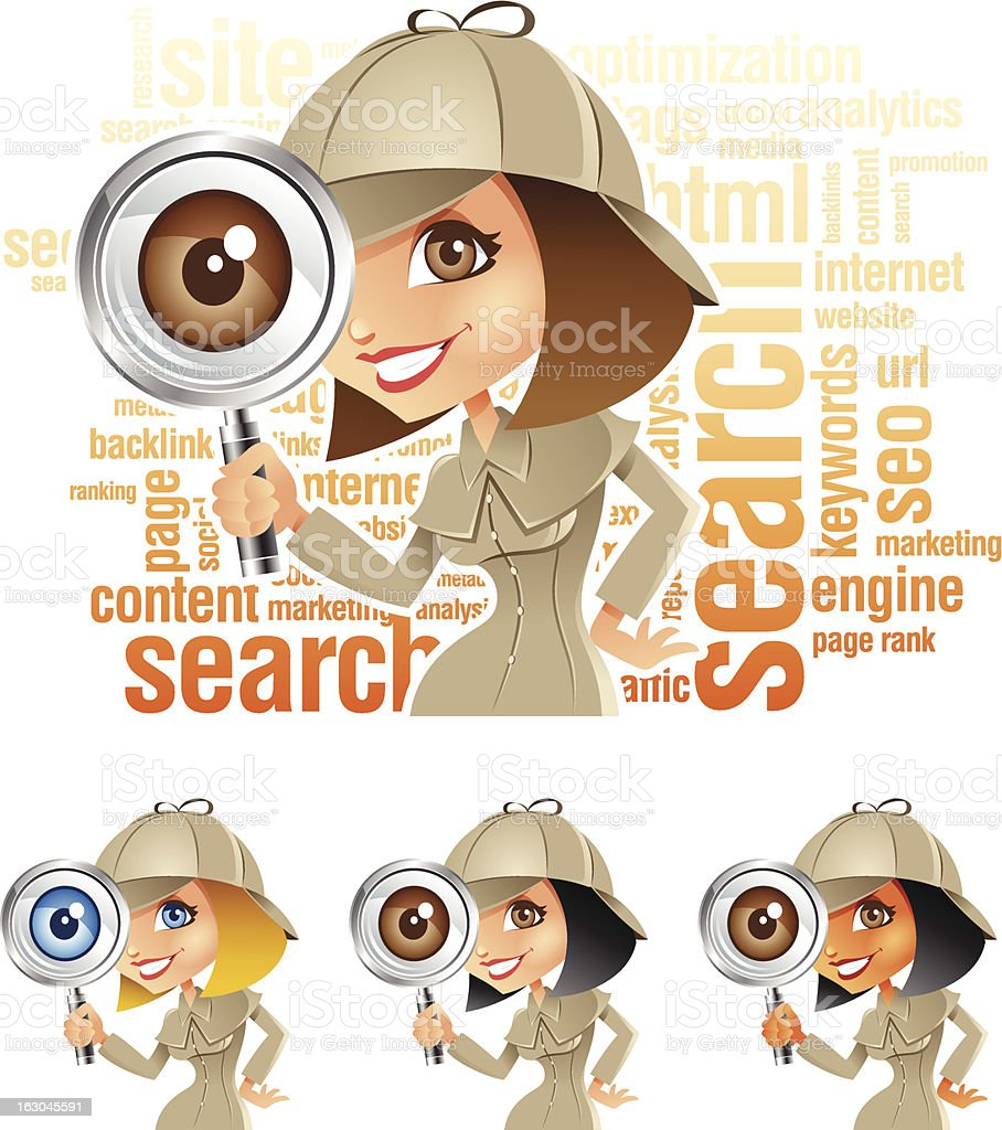 Detective Girl with Magnifying Glass doing Keyword Internet Search vector art illustration