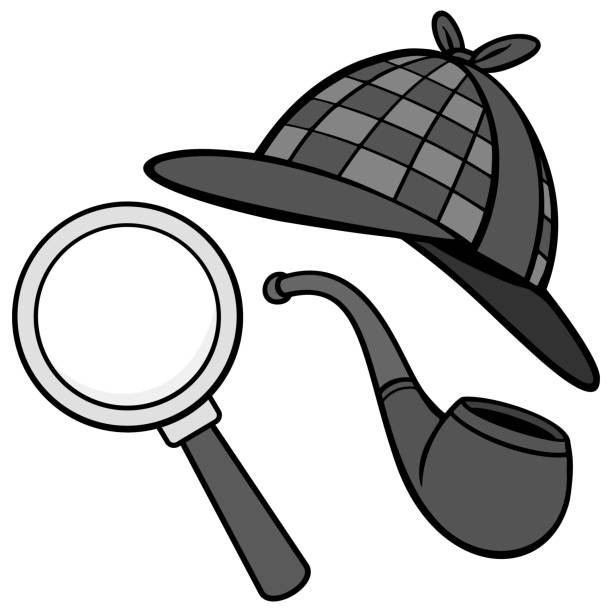 Detective Hat, Pipe and Magnifying Glass Illustration A vector cartoon illustration of a Detective Hat, Pipe and a Magnifying Glass. deerstalker hat stock illustrations