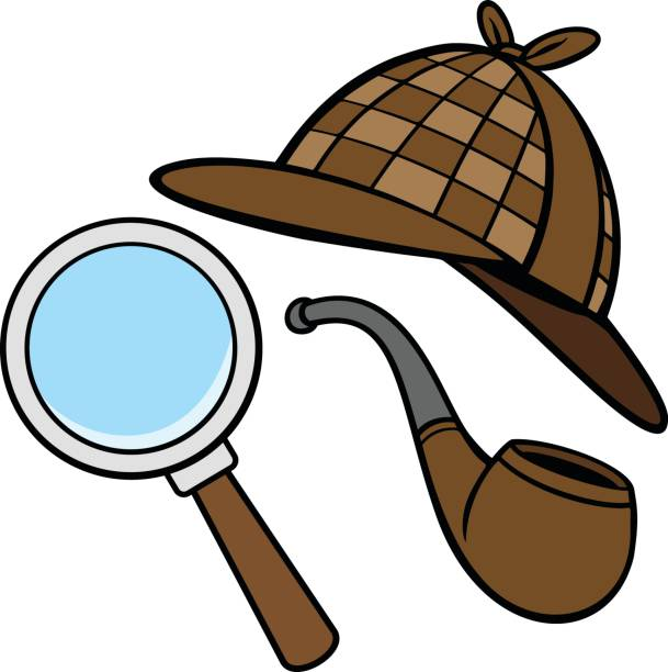 Detective Hat, Pipe, and Magnifying Glass A vector illustration of a Detective Hat, Pipe, and Magnifying Glass. sherlock holmes stock illustrations