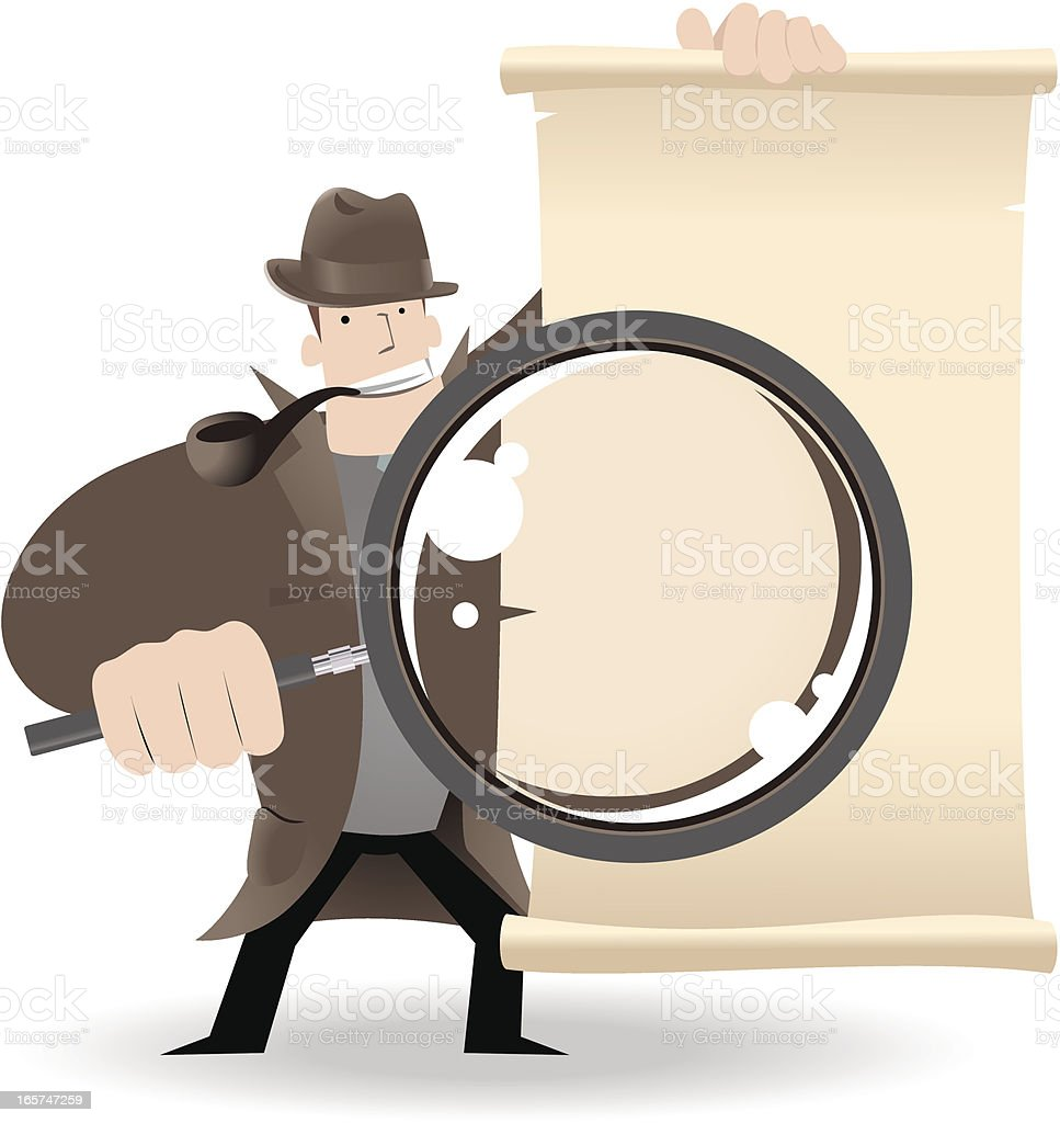 Detective Holding A Magnifier And Showing Something royalty-free detective holding a magnifier and showing something stock vector art & more images of 1920-1929