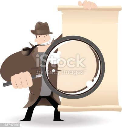 istock Detective Holding A Magnifier And Showing Something 165747259