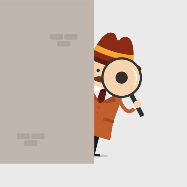 Detective holding a magnifying glass behind the wall. Police detective and inspector cartoon. Detective holding a magnifying glass behind the wall. Police detective and inspector cartoon. detective stock illustrations