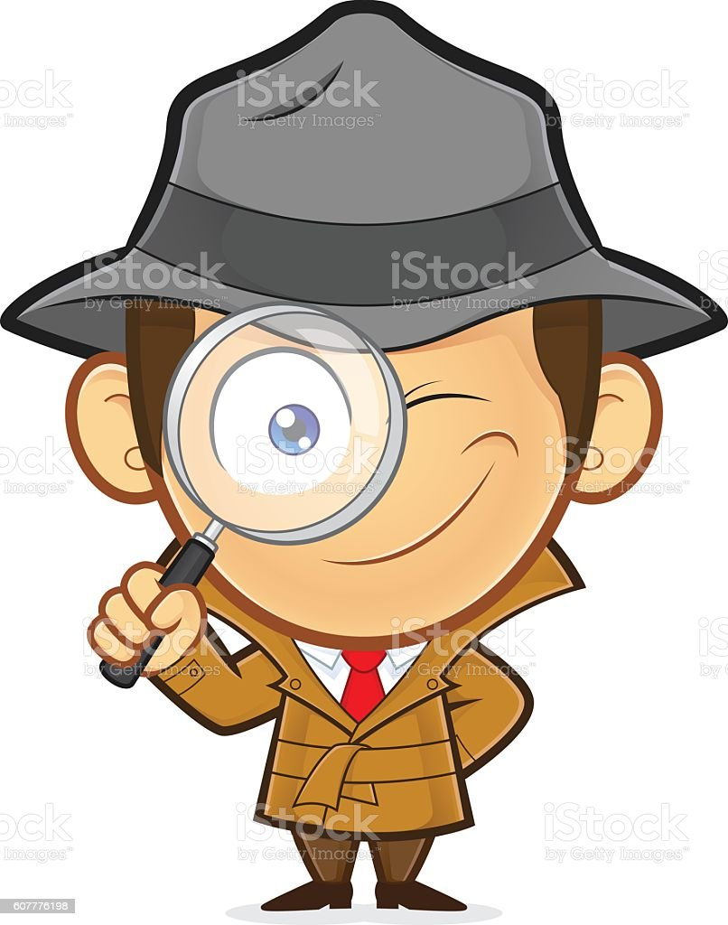 Detective holding a magnifying glass vector art illustration