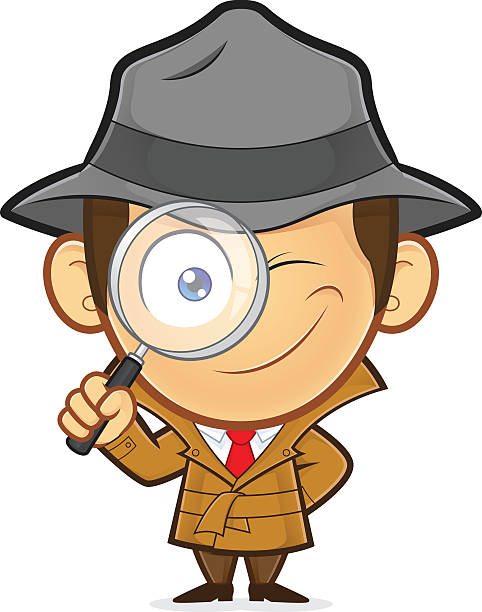 Detective holding a magnifying glass Clipart picture of a detective cartoon character holding a magnifying glass detective stock illustrations