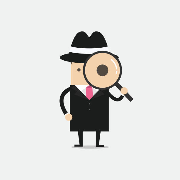 Detective holding a magnifying glass. Detective holding a magnifying glass. vector detective stock illustrations