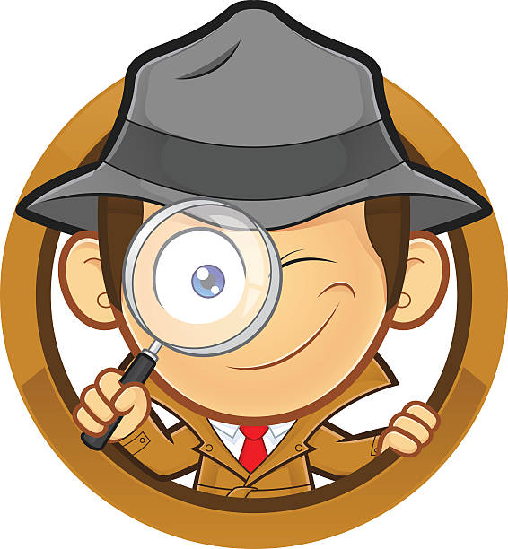 Detective holding a magnifying glass with circle shape Clipart picture of a detective cartoon character holding a magnifying glass with circle shape detective stock illustrations