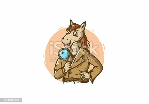 istock Detective horse holding a magnifier design 1306350351