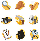 Detective elements in vector format, including gun,hat, pipe, Magnifying Glass, and many more.