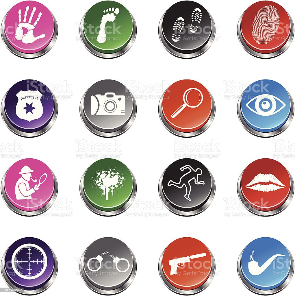 Detective Icons - 3D Push Button Series royalty-free stock vector art
