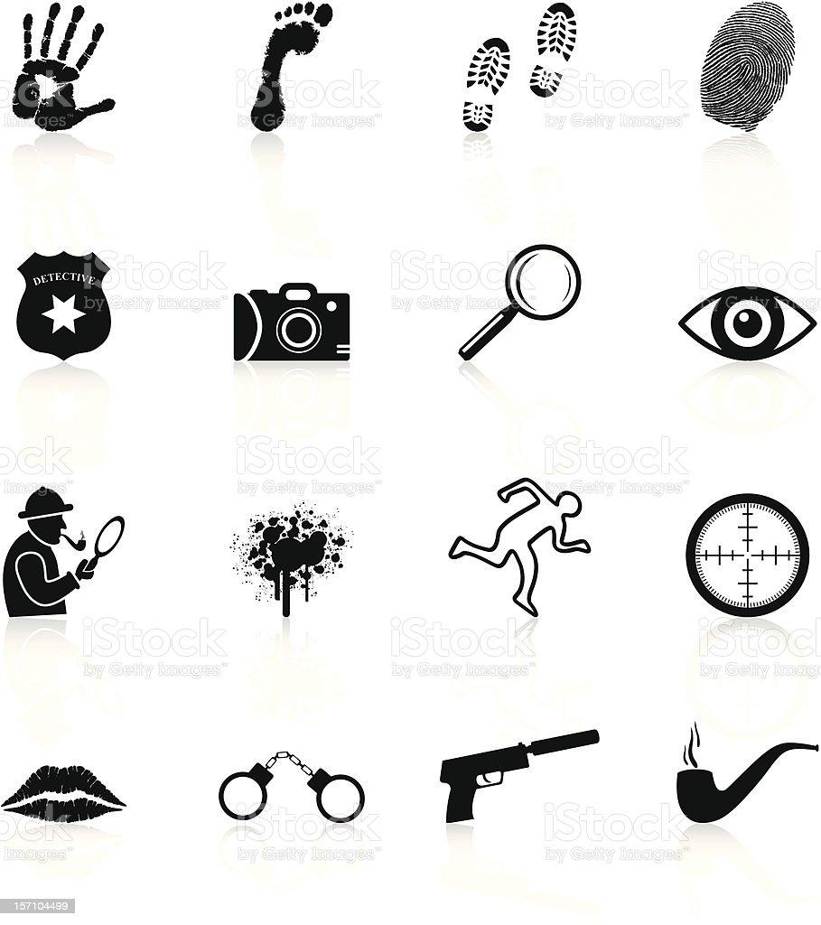 Detective Icons - Black Series vector art illustration