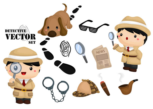 Detective Image Set an images with detective items and object detective stock illustrations