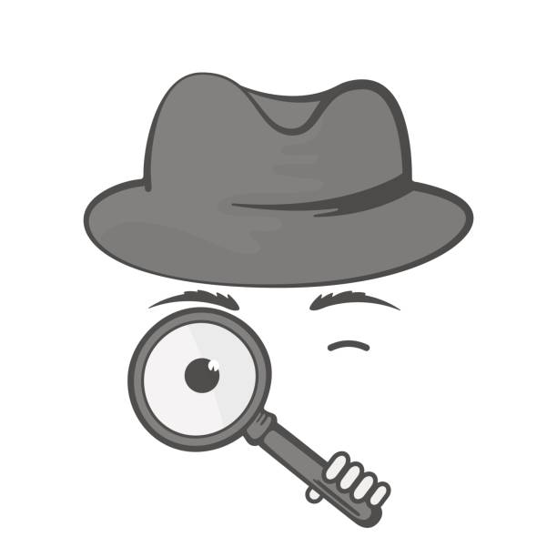 Detective in a hat with a magnifying glass. Spy. Snoop Detective in a hat with a magnifying glass. Spy. Snoop Dick stock illustrations