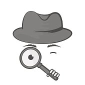 Detective in a hat with a magnifying glass. Spy. Snoop