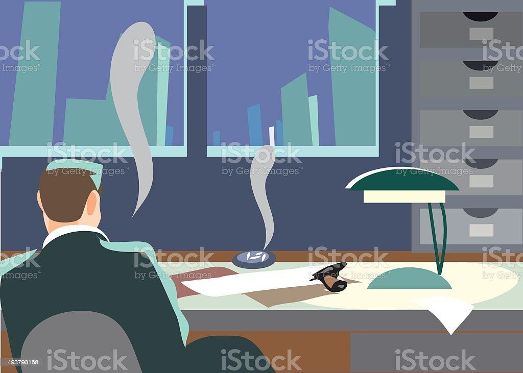 Detektiv in Büro. TM – Vektorgrafik