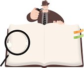 Vector illustration - Detective Inspector open book to search some secret.