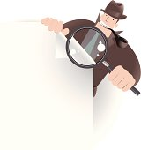 Vector illustration – Detective Inspector With Magnifier And File, Looking,  Searching Something.
