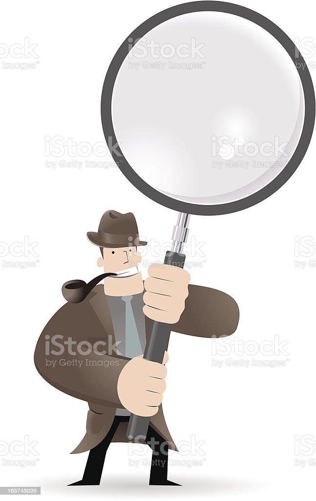 Detective Inspector With Magnifier And Pipe royalty-free stock vector art
