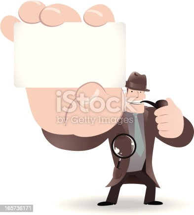 istock Detective Inspector With Magnifier And Pipe,Holding Message Card 165736171