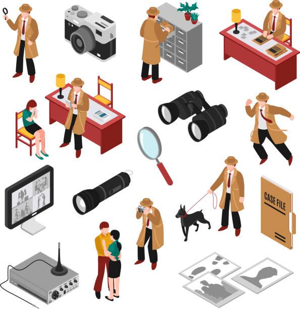 Detektiv-Isometrie-Set – Vektorgrafik