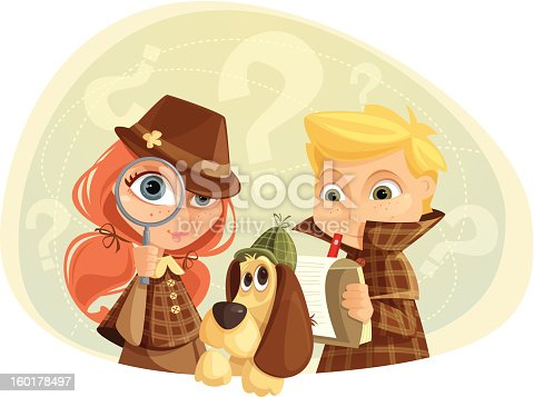 Illustration of children and a dog playing detectives. Girl, boy, dog and background are layered and grouped separately.