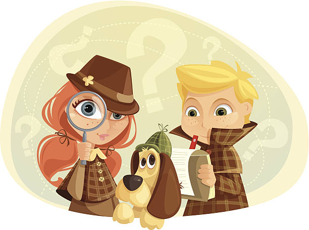 Detective Kids Illustration of children and a dog playing detectives. Girl, boy, dog and background are layered and grouped separately. detective stock illustrations