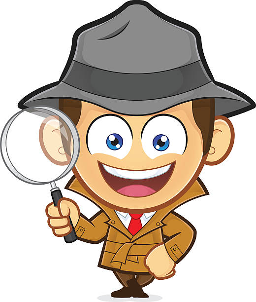 Detective leaning on an empty block – Vektorgrafik
