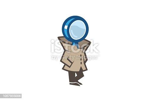 Detective Magnifying Man Symbol Logo Design Illustration
